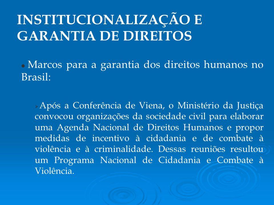 INSTITUCIONALIZAÇÃO E GARANTIA DE DIREITOS