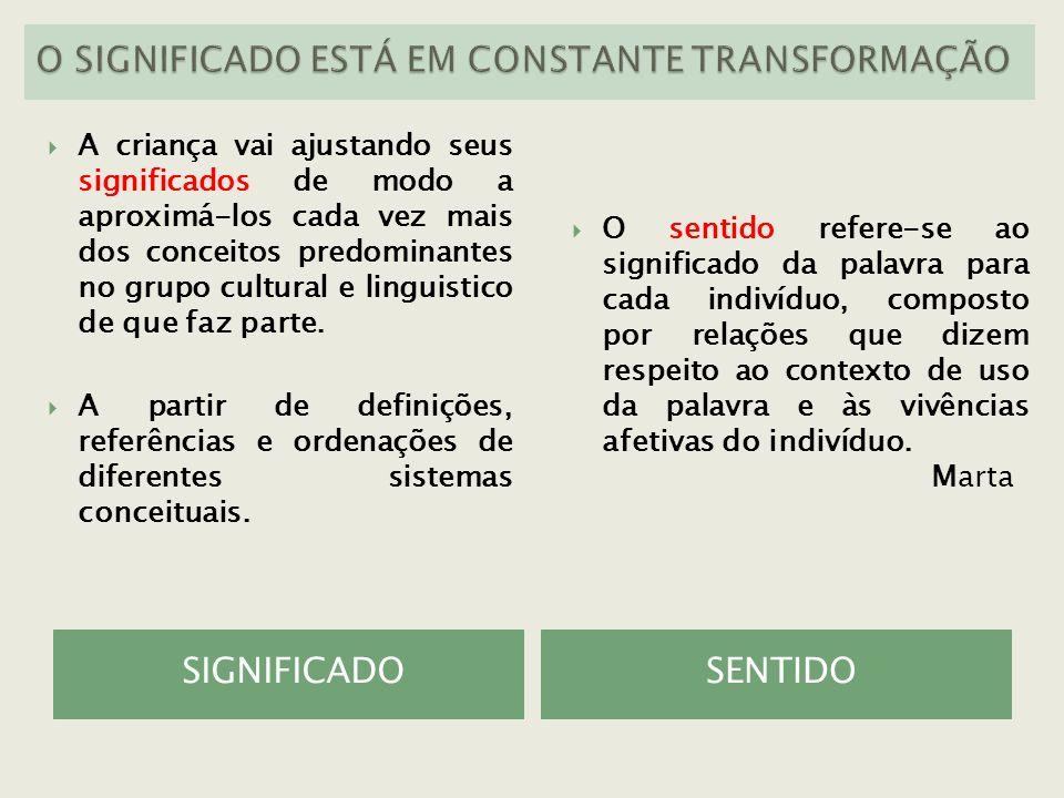 O SIGNIFICADO ESTÁ EM CONSTANTE TRANSFORMAÇÃO