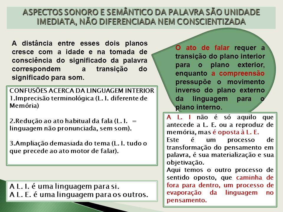 ASPECTOS SONORO E SEMÂNTICO DA PALAVRA SÃO UNIDADE IMEDIATA, NÃO DIFERENCIADA NEM CONSCIENTIZADA