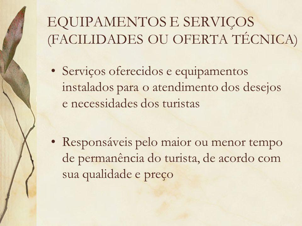 EQUIPAMENTOS E SERVIÇOS (FACILIDADES OU OFERTA TÉCNICA)