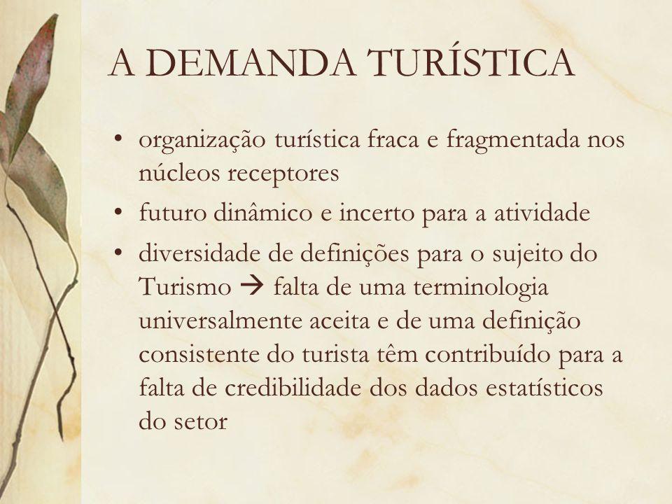 A DEMANDA TURÍSTICAorganização turística fraca e fragmentada nos núcleos receptores. futuro dinâmico e incerto para a atividade.