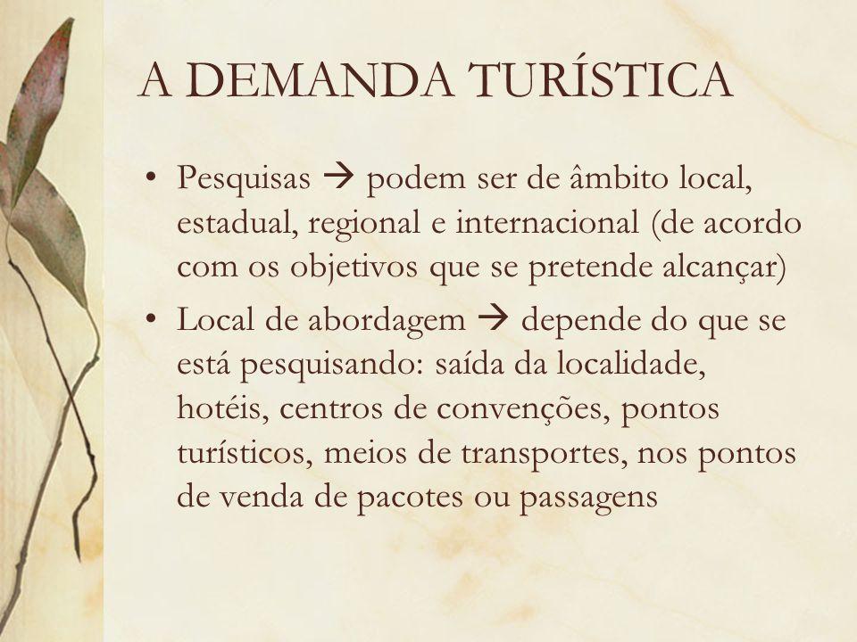 A DEMANDA TURÍSTICA Pesquisas  podem ser de âmbito local, estadual, regional e internacional (de acordo com os objetivos que se pretende alcançar)