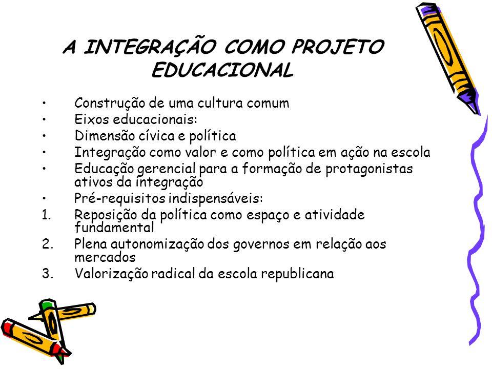 A INTEGRAÇÃO COMO PROJETO EDUCACIONAL