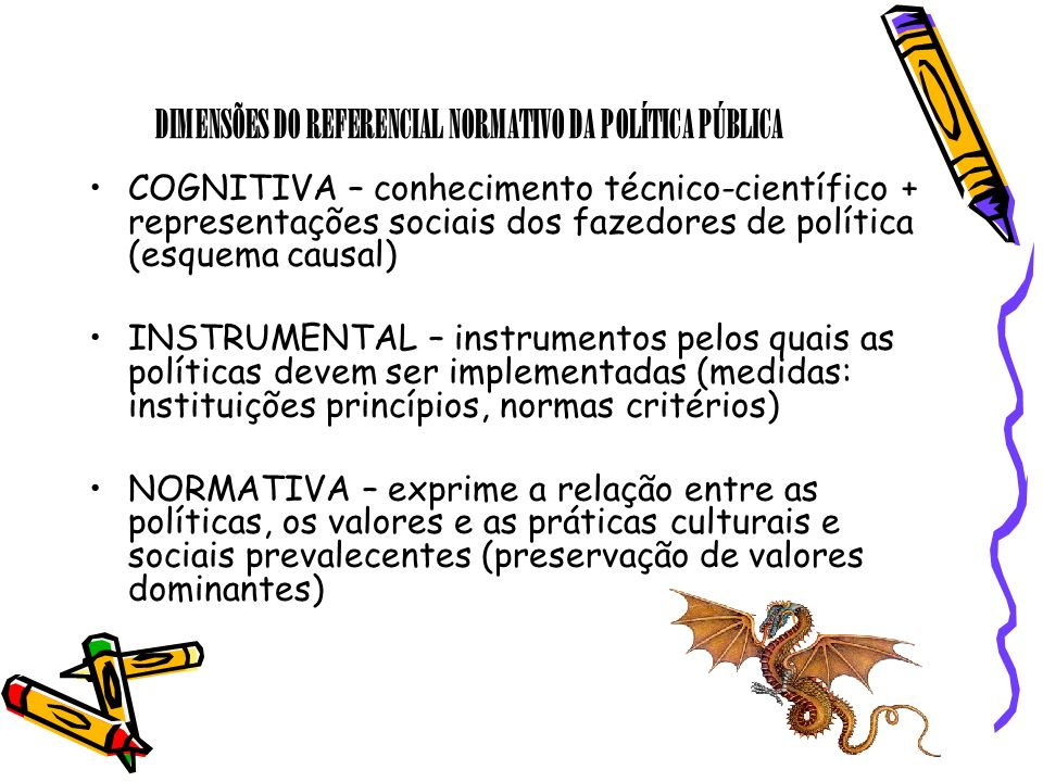 DIMENSÕES DO REFERENCIAL NORMATIVO DA POLÍTICA PÚBLICA