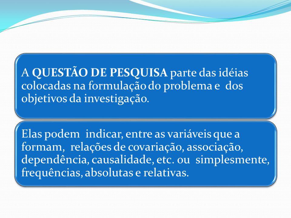 A QUESTÃO DE PESQUISA parte das idéias colocadas na formulação do problema e dos objetivos da investigação.