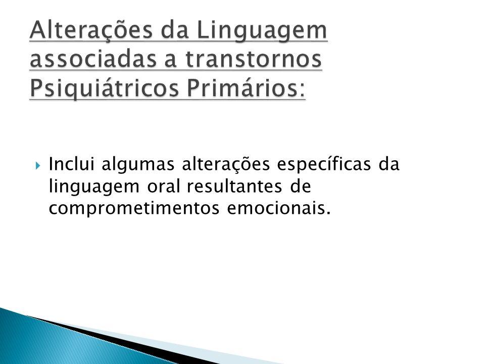 Alterações da Linguagem associadas a transtornos Psiquiátricos Primários: