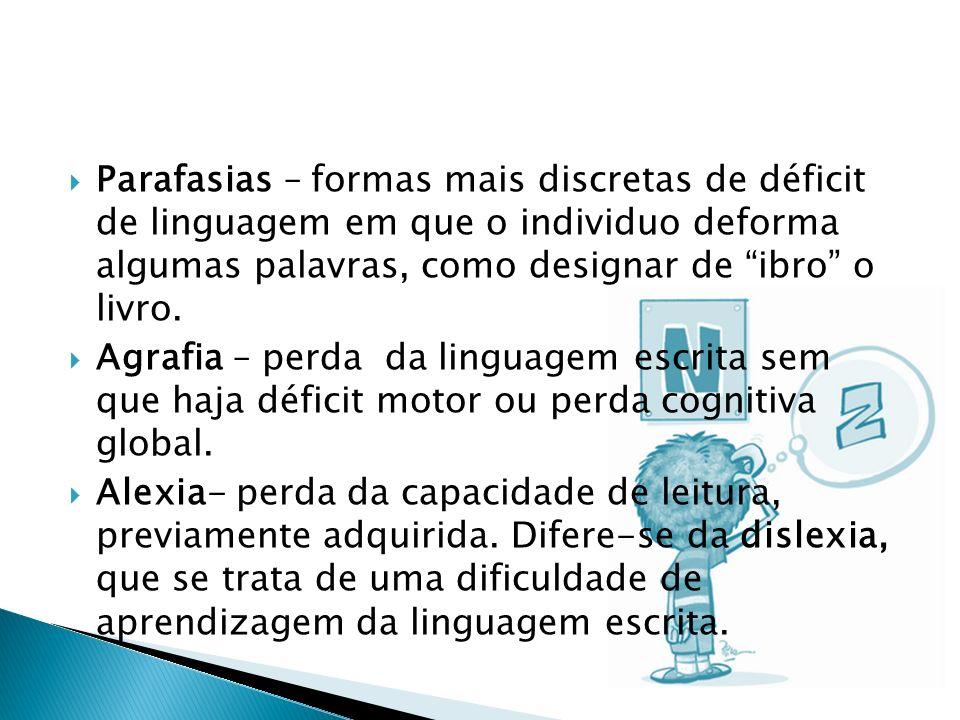 Parafasias – formas mais discretas de déficit de linguagem em que o individuo deforma algumas palavras, como designar de ibro o livro.