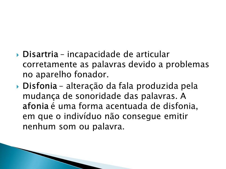 Disartria – incapacidade de articular corretamente as palavras devido a problemas no aparelho fonador.