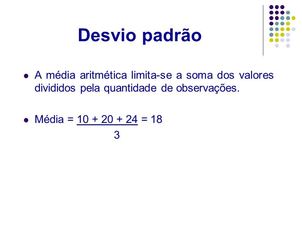 Desvio padrão A média aritmética limita-se a soma dos valores divididos pela quantidade de observações.
