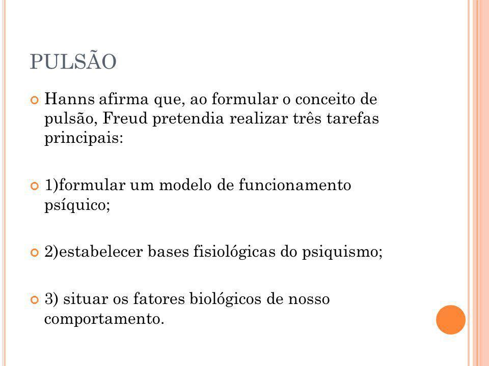 PULSÃO Hanns afirma que, ao formular o conceito de pulsão, Freud pretendia realizar três tarefas principais: