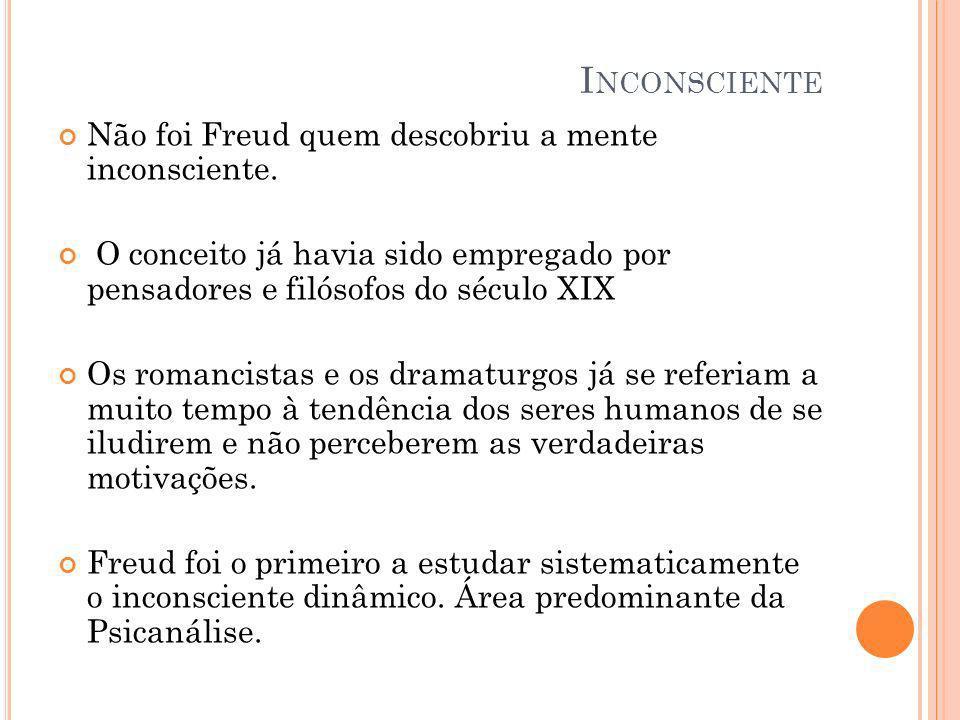Inconsciente Não foi Freud quem descobriu a mente inconsciente.
