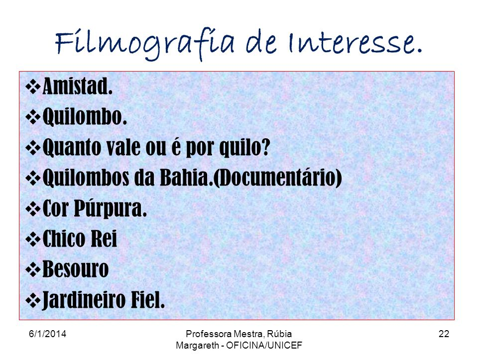 Filmografia de Interesse.