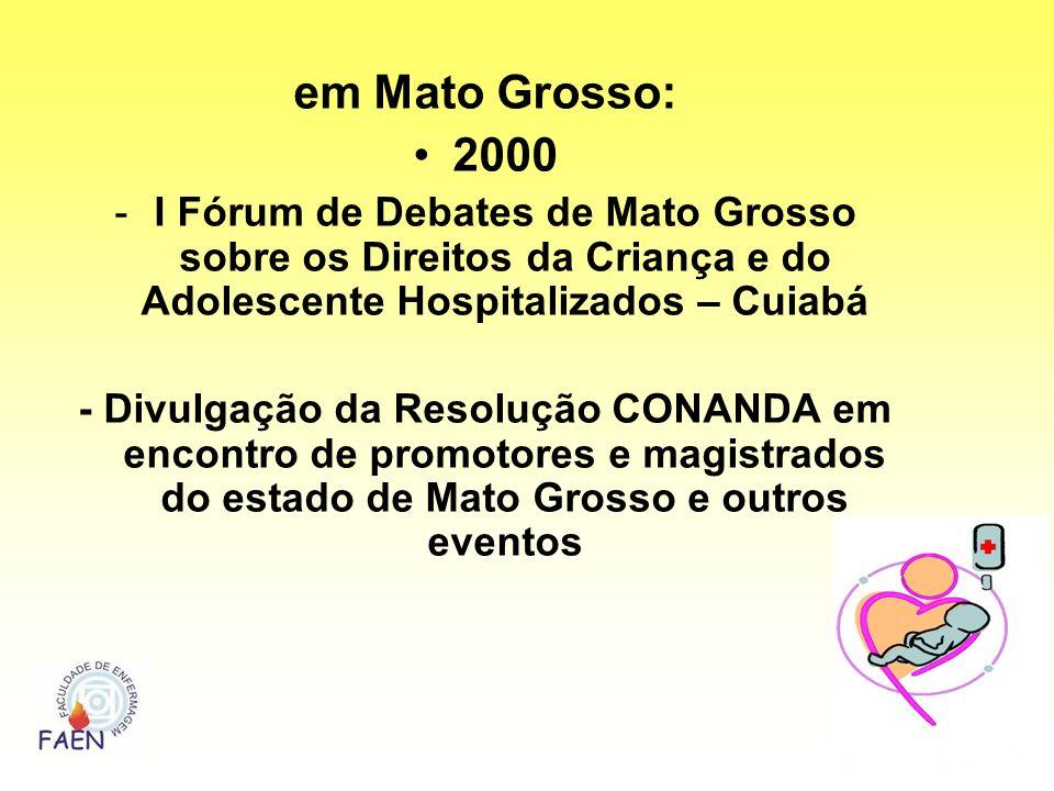 em Mato Grosso: 2000. I Fórum de Debates de Mato Grosso sobre os Direitos da Criança e do Adolescente Hospitalizados – Cuiabá.