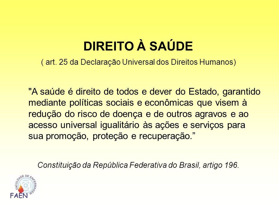DIREITO À SAÚDE( art. 25 da Declaração Universal dos Direitos Humanos)