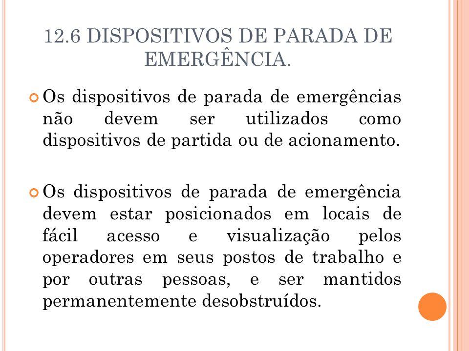 12.6 DISPOSITIVOS DE PARADA DE EMERGÊNCIA.