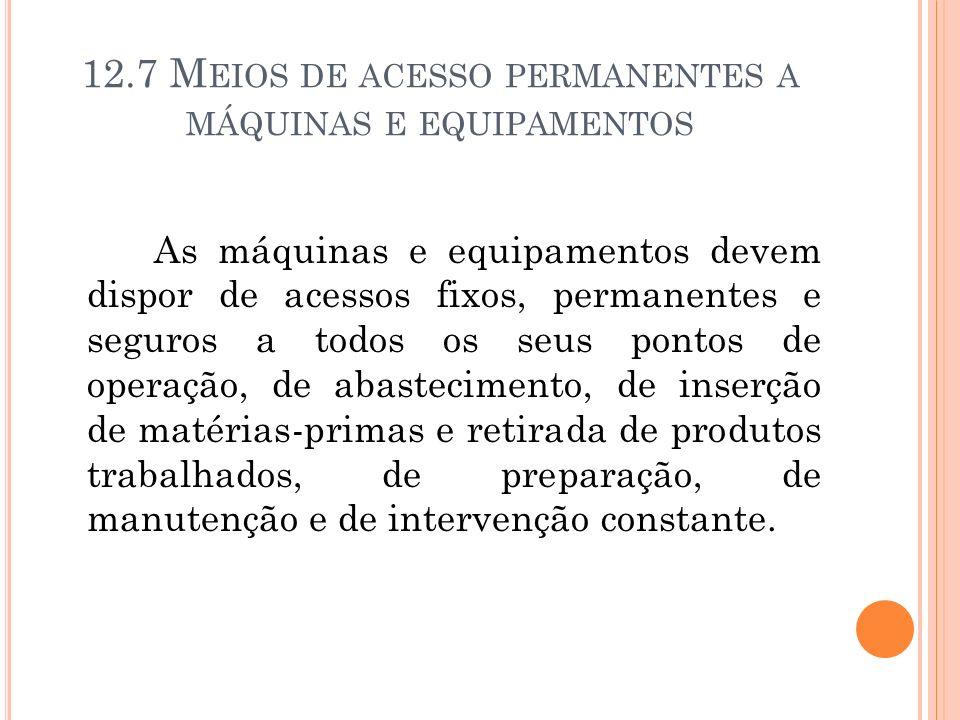 12.7 Meios de acesso permanentes a máquinas e equipamentos