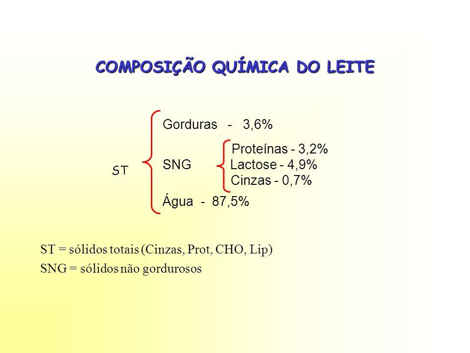 COMPOSIÇÃO QUÍMICA DO LEITE