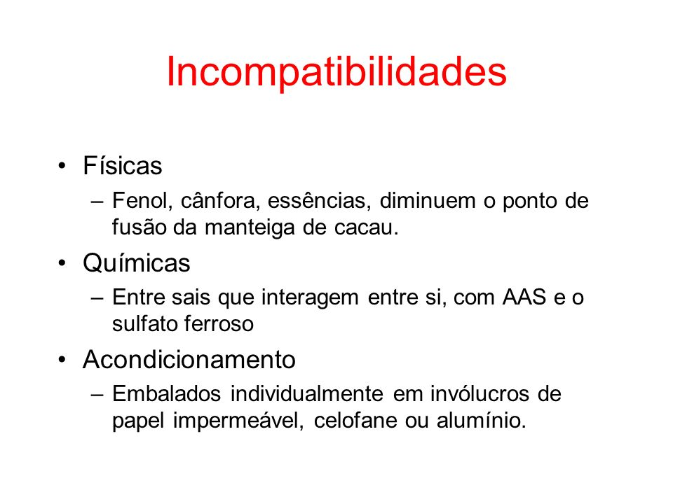 Incompatibilidades Físicas Químicas Acondicionamento