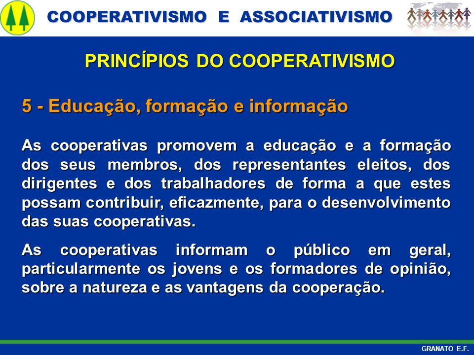 PRINCÍPIOS DO COOPERATIVISMO