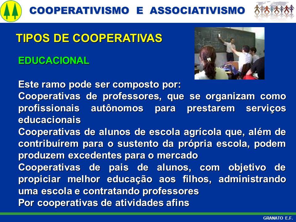 TIPOS DE COOPERATIVAS EDUCACIONAL Este ramo pode ser composto por: