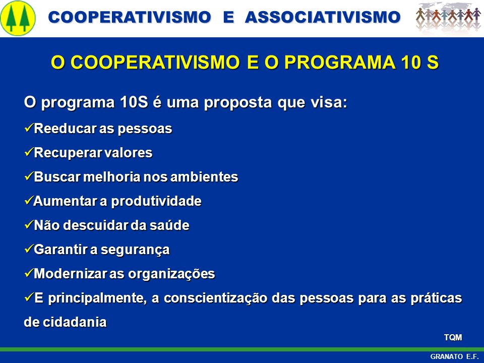 O COOPERATIVISMO E O PROGRAMA 10 S
