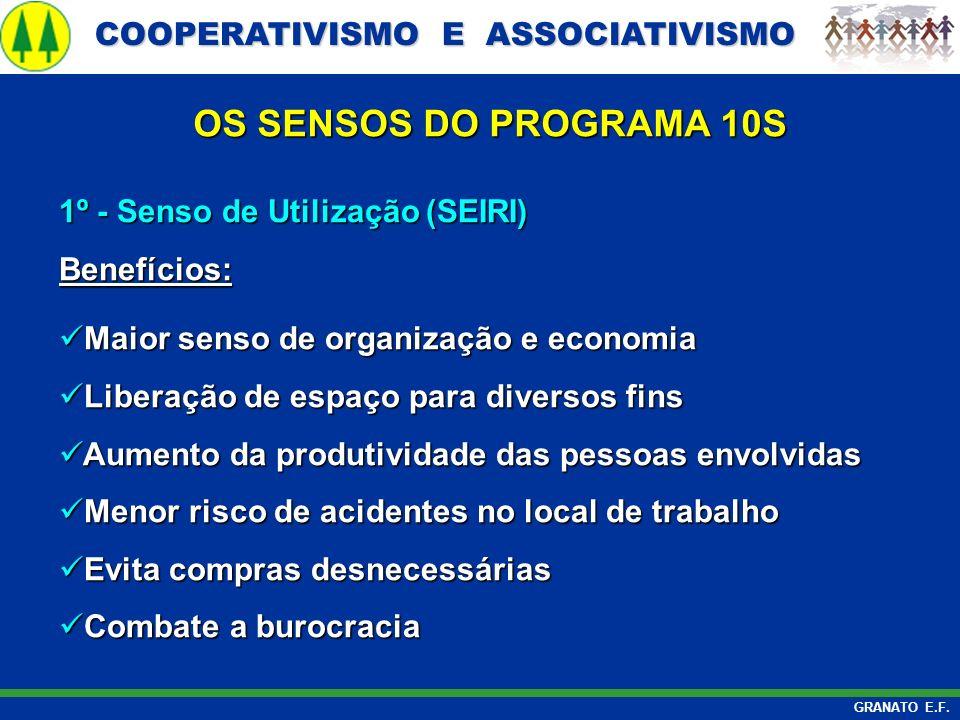 OS SENSOS DO PROGRAMA 10S 1º - Senso de Utilização (SEIRI) Benefícios: