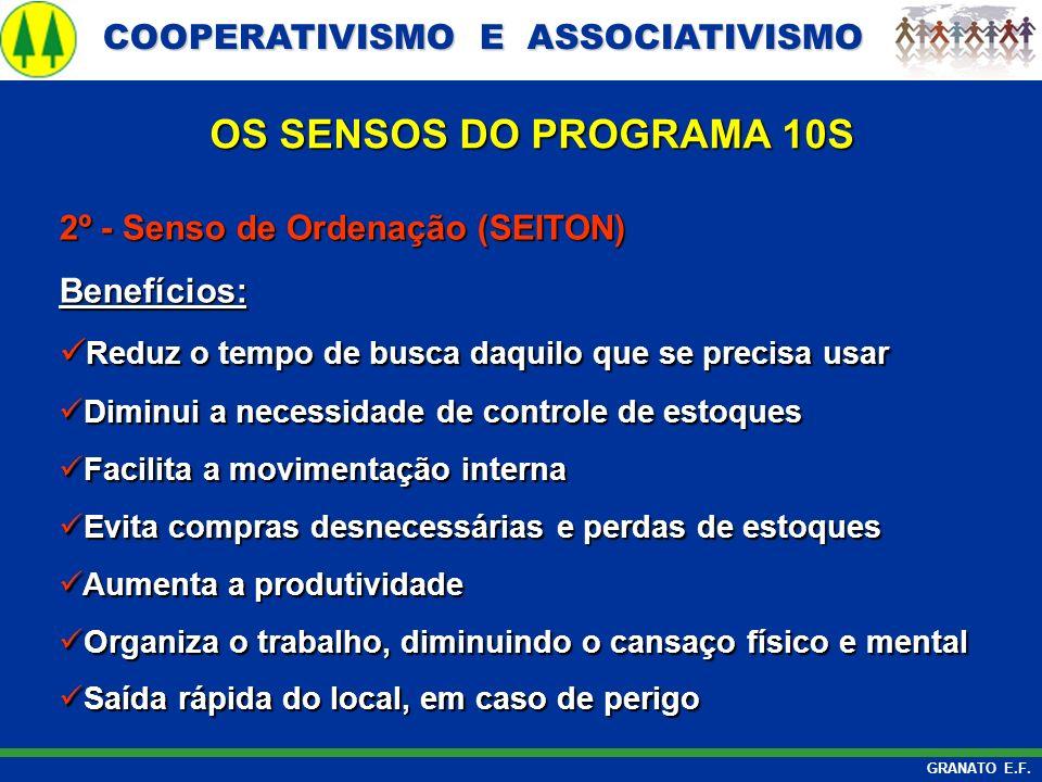 OS SENSOS DO PROGRAMA 10S 2º - Senso de Ordenação (SEITON) Benefícios: