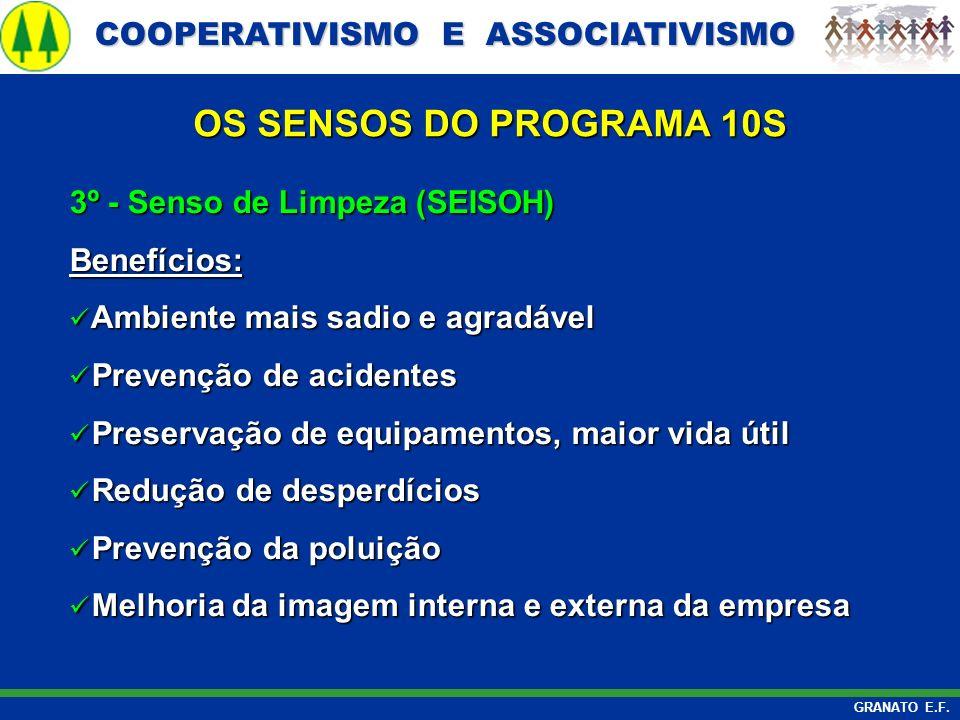 OS SENSOS DO PROGRAMA 10S 3º - Senso de Limpeza (SEISOH) Benefícios:
