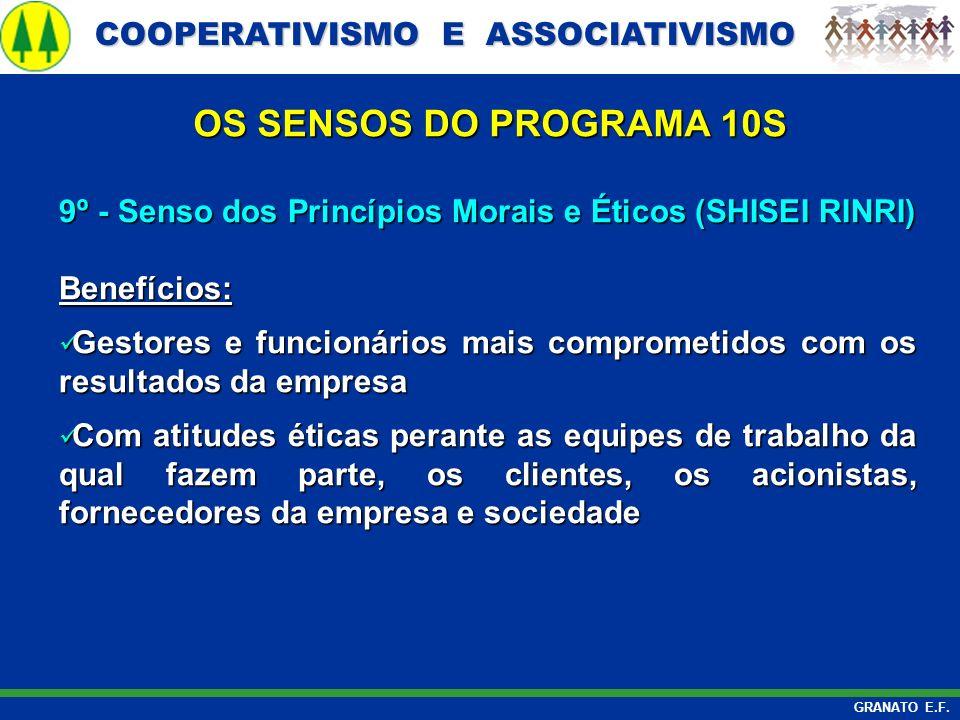 OS SENSOS DO PROGRAMA 10S 9º - Senso dos Princípios Morais e Éticos (SHISEI RINRI) Benefícios:
