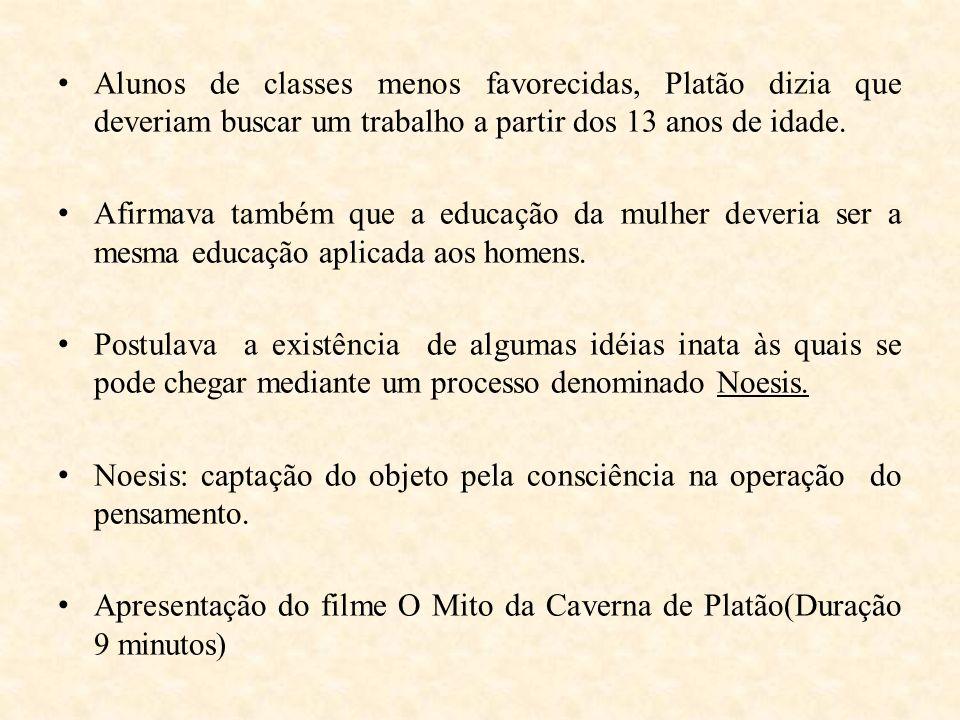 Alunos de classes menos favorecidas, Platão dizia que deveriam buscar um trabalho a partir dos 13 anos de idade.