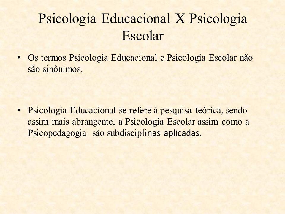 Psicologia Educacional X Psicologia Escolar