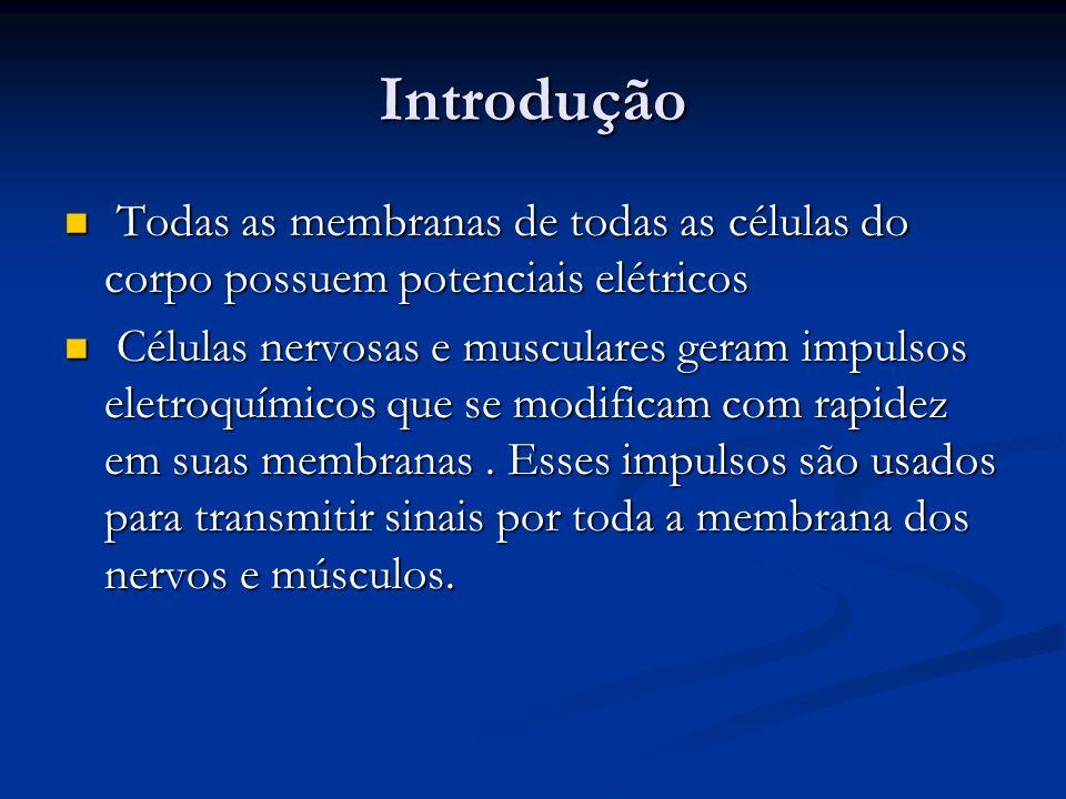 Introdução Todas as membranas de todas as células do corpo possuem potenciais elétricos.
