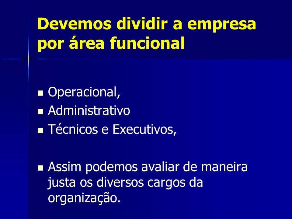 Devemos dividir a empresa por área funcional