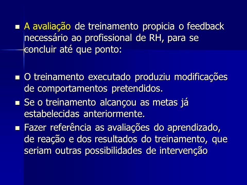 A avaliação de treinamento propicia o feedback necessário ao profissional de RH, para se concluir até que ponto: