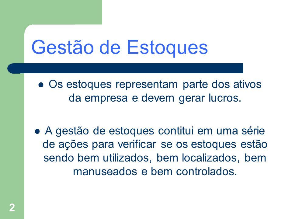 Gestão de EstoquesOs estoques representam parte dos ativos da empresa e devem gerar lucros.