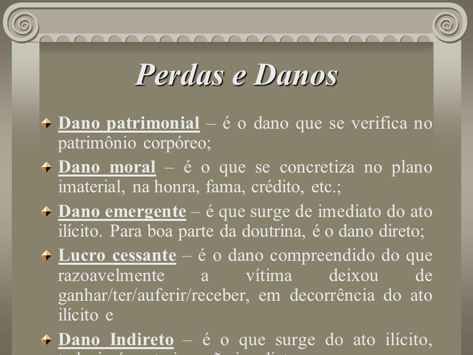 Perdas e DanosDano patrimonial – é o dano que se verifica no patrimônio corpóreo;