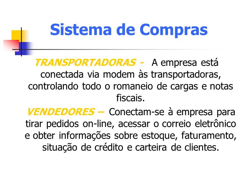 Sistema de Compras TRANSPORTADORAS - A empresa está conectada via modem às transportadoras, controlando todo o romaneio de cargas e notas fiscais.