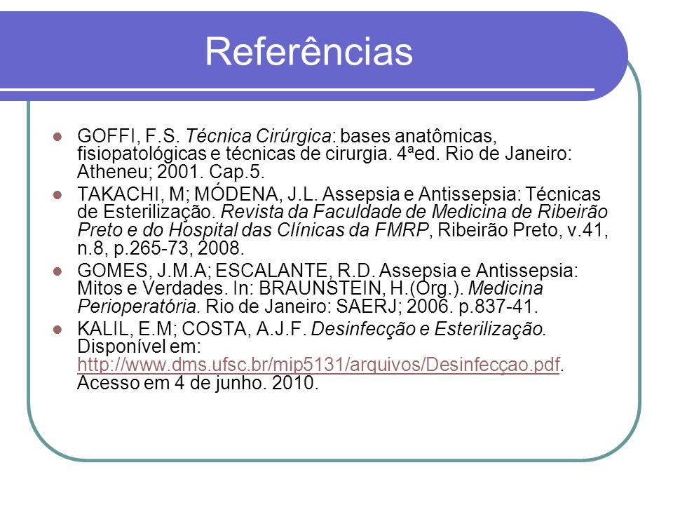 Referências GOFFI, F.S. Técnica Cirúrgica: bases anatômicas, fisiopatológicas e técnicas de cirurgia. 4ªed. Rio de Janeiro: Atheneu; 2001. Cap.5.