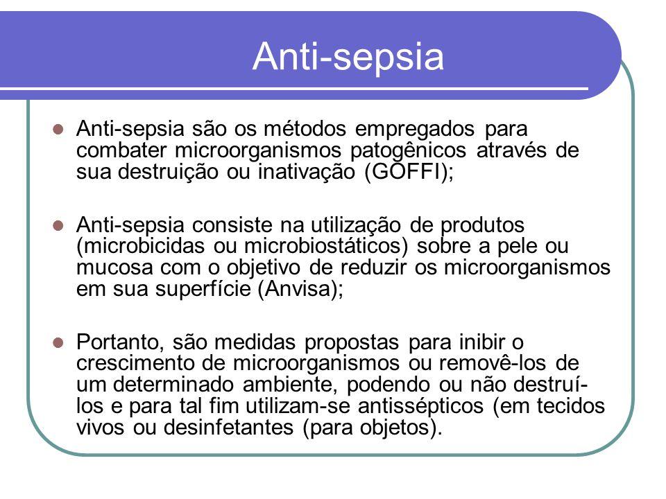 Anti-sepsia Anti-sepsia são os métodos empregados para combater microorganismos patogênicos através de sua destruição ou inativação (GOFFI);