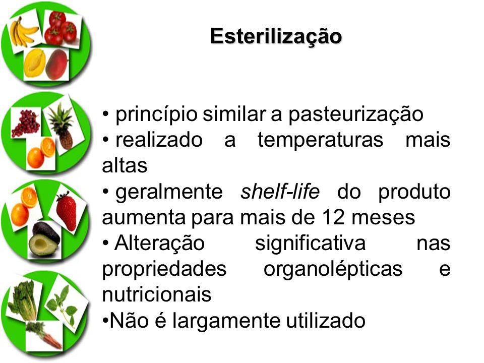 Esterilização princípio similar a pasteurização. realizado a temperaturas mais altas.