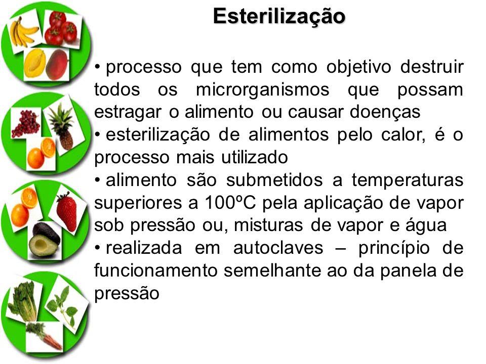 Esterilização processo que tem como objetivo destruir todos os microrganismos que possam estragar o alimento ou causar doenças.