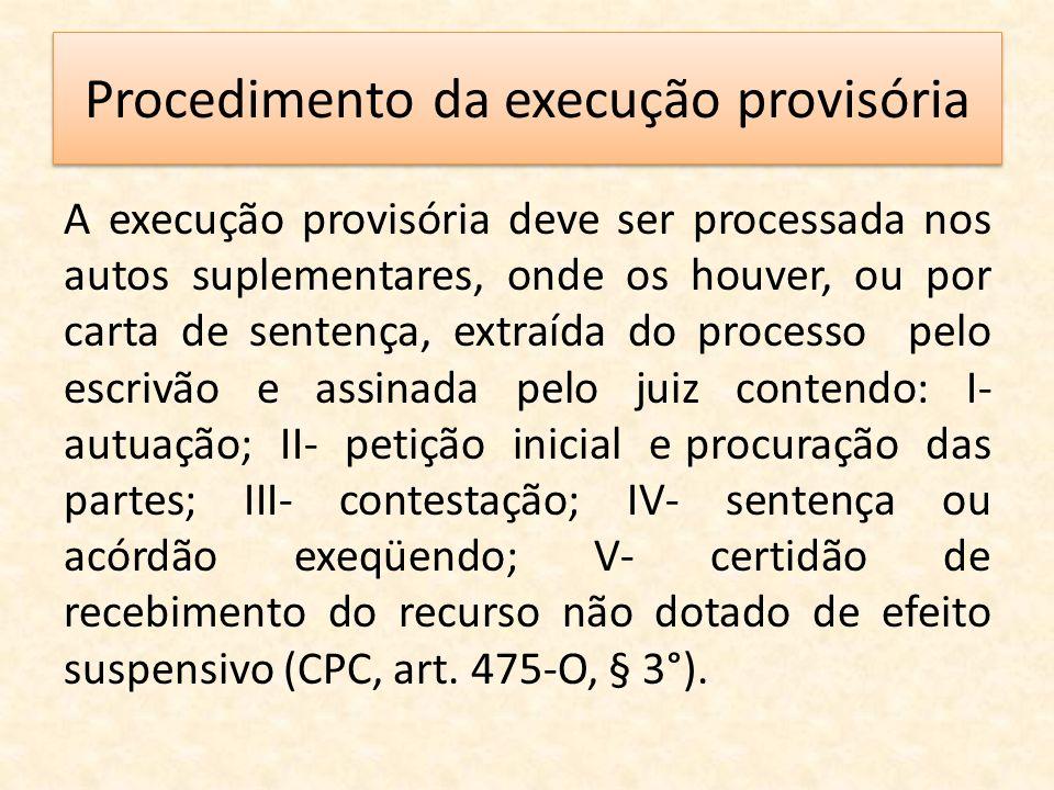 Procedimento da execução provisória