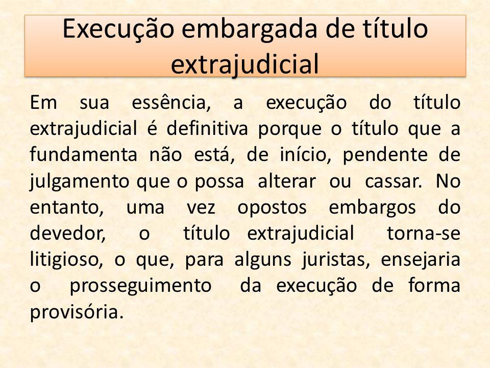 Execução embargada de título extrajudicial