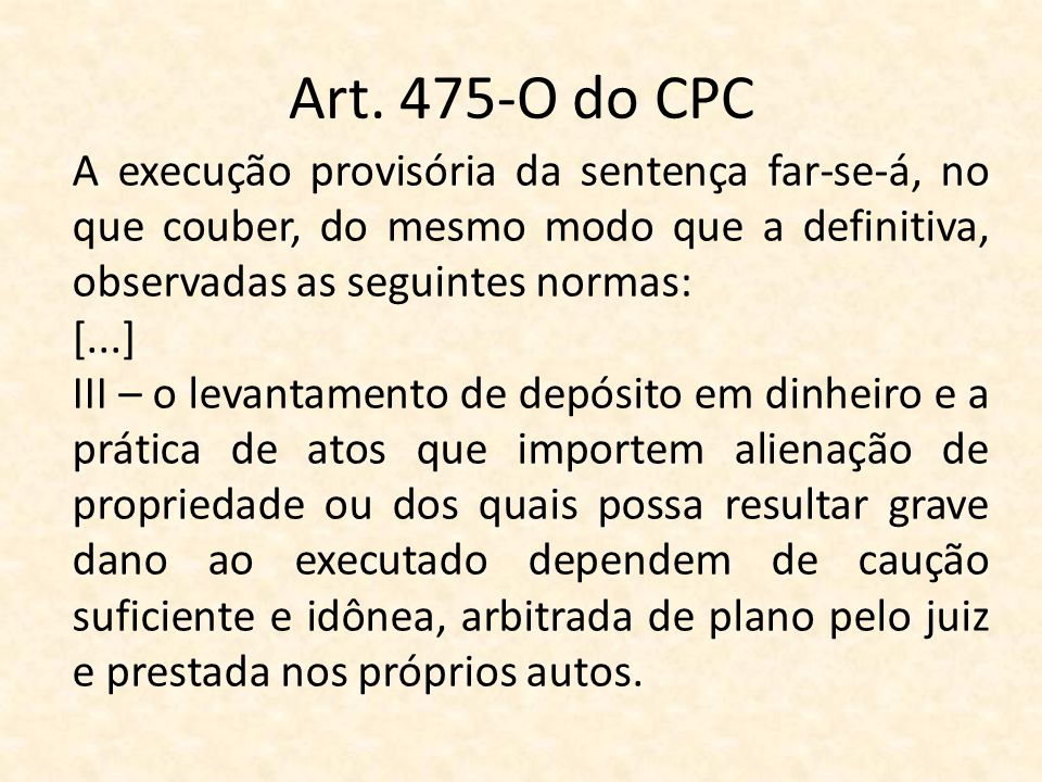 Art. 475-O do CPC