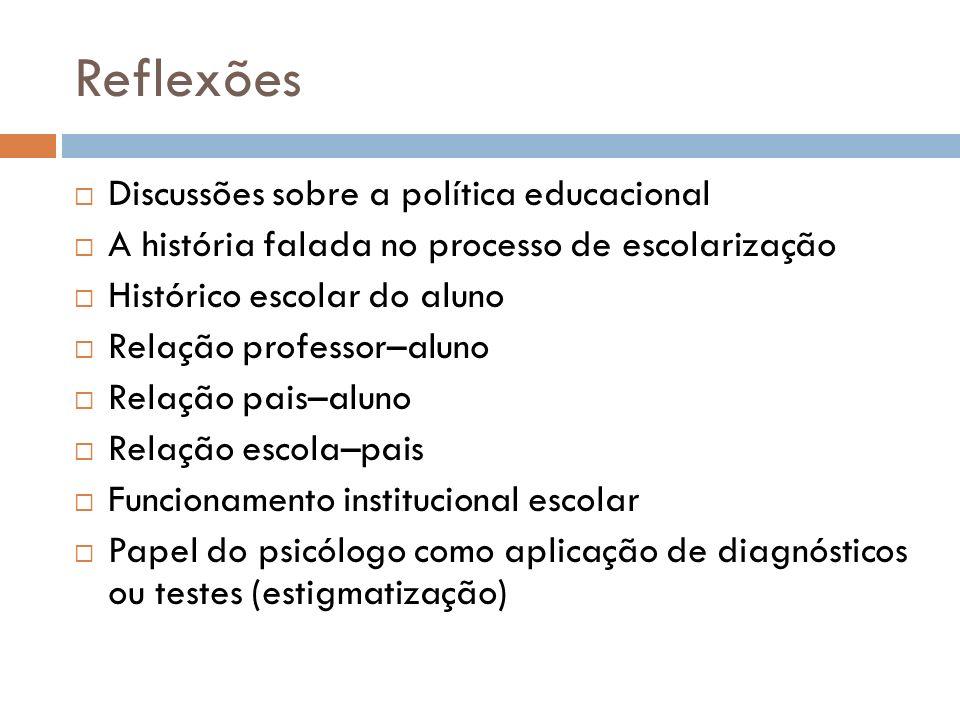 Reflexões Discussões sobre a política educacional