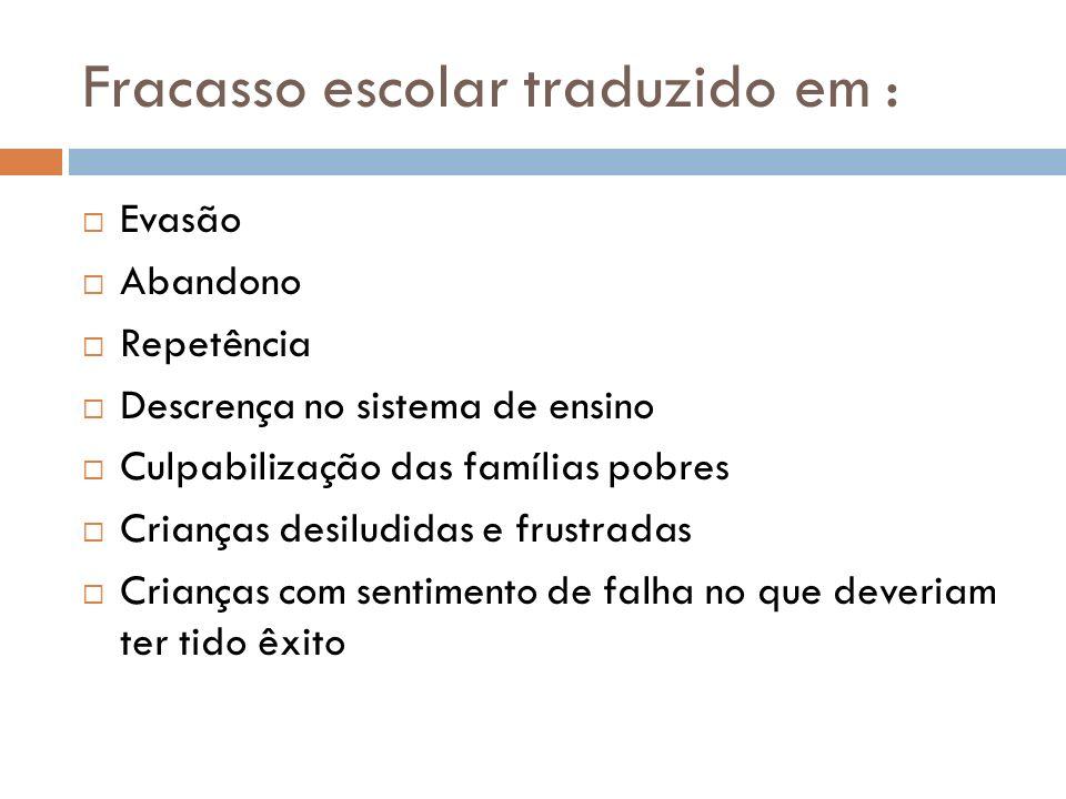 Fracasso escolar traduzido em :