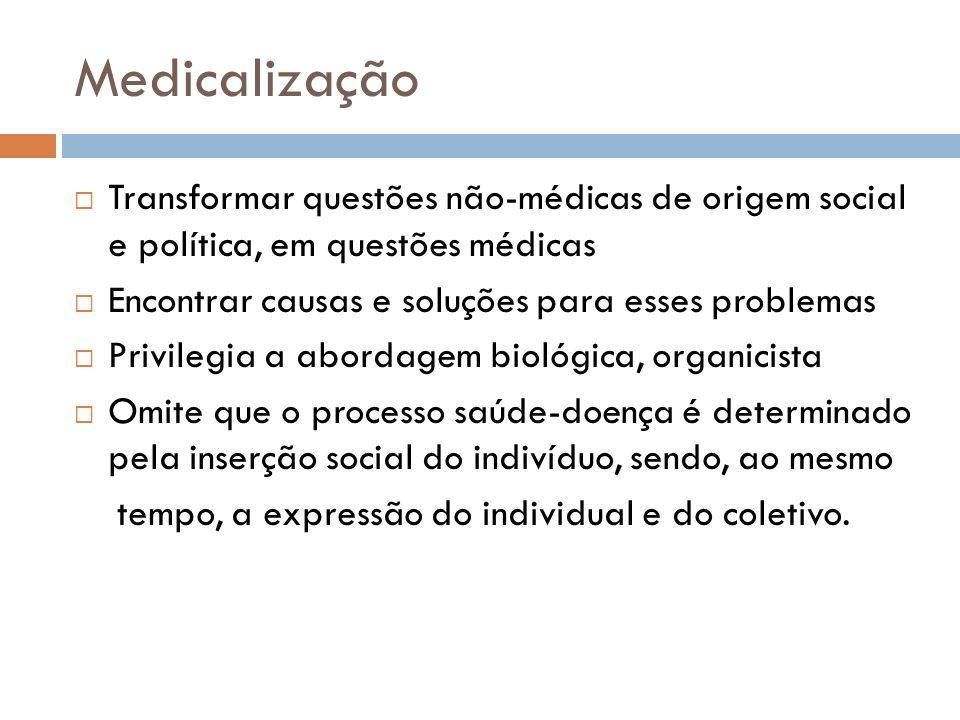 MedicalizaçãoTransformar questões não-médicas de origem social e política, em questões médicas. Encontrar causas e soluções para esses problemas.