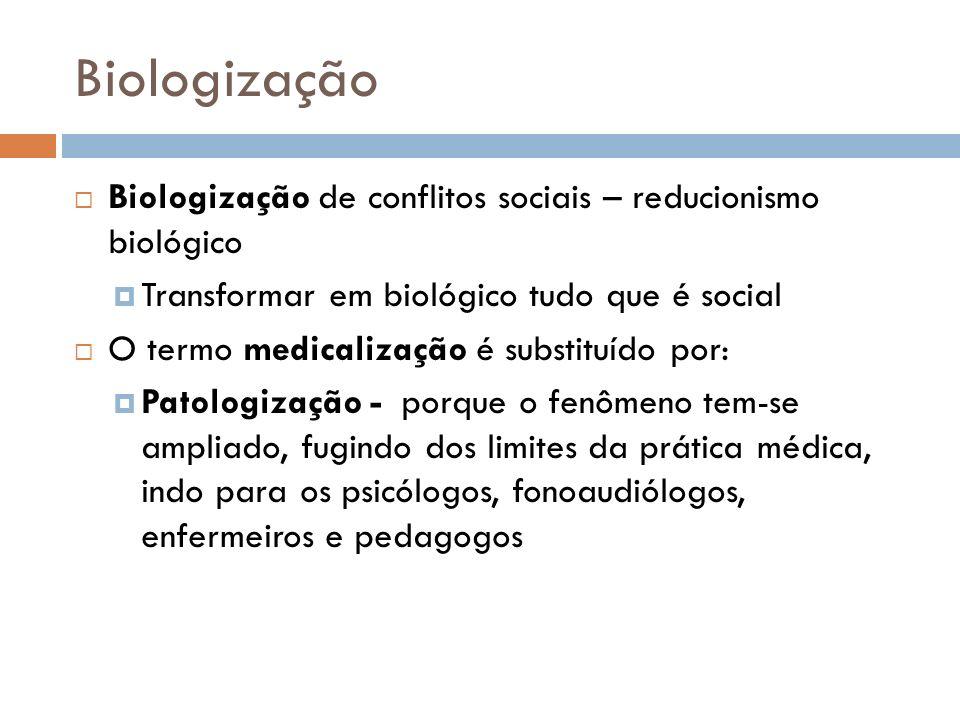 Biologização Biologização de conflitos sociais – reducionismo biológico. Transformar em biológico tudo que é social.