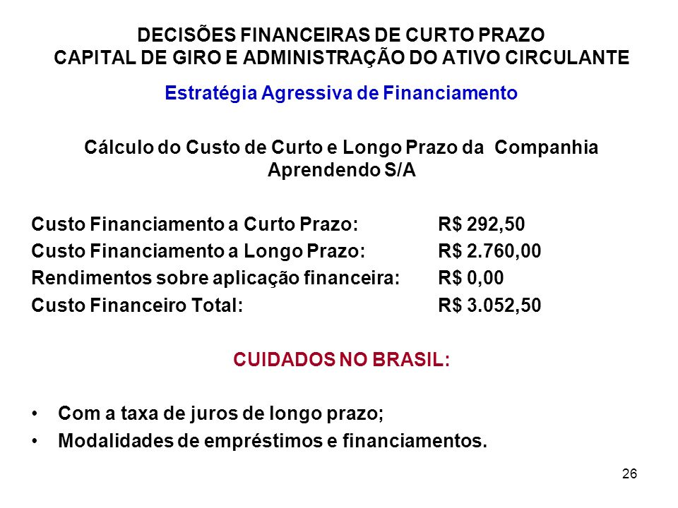 Estratégia Agressiva de Financiamento