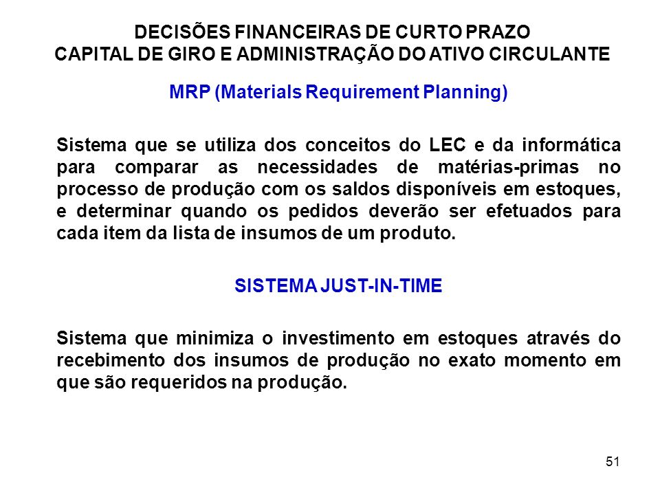 MRP (Materials Requirement Planning)